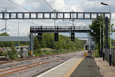 Signals in place outside Cardonald Station, erected but not yet in service