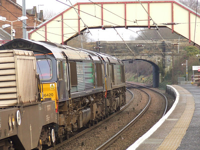 66424 and 66420 about to pass through Johnstone with nuclear flasks from Hunterston to Carlisle Kingmoor
