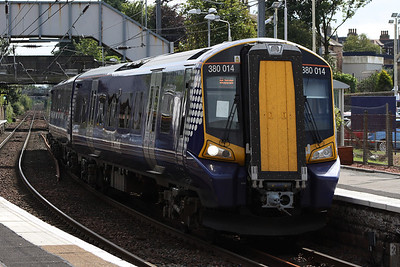 380014 at Platform 1 with a Glasgow Central service