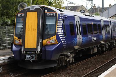 380013 at the rear of an Ayr service pausing at Kilwinning