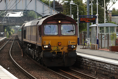 66154 passing through Kilwinning with a loaded coal train bound for Longannet PS on service 6G08