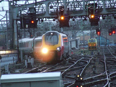 De-branded 221124 on the approach to Glasgow Central to form a Cross Country service