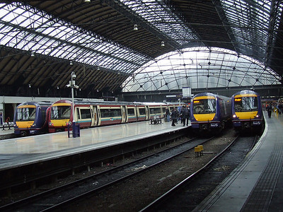 From left to right, 170402, 170475, 170421, 170405 waiting to depart on various workings from Glasgow Queen Street