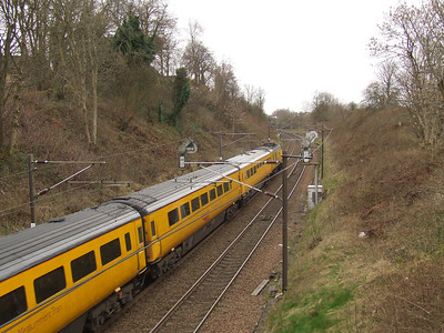 Passing through Elderslie, the Network Rail New Measurement Train heading towards Falkland Yard in Ayr