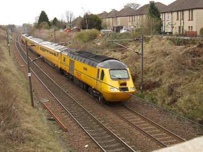 43062 John Armitt passing through Elderslie with the Network Rail New Measurement Train as it heads towards Falkland Yard in Ayr