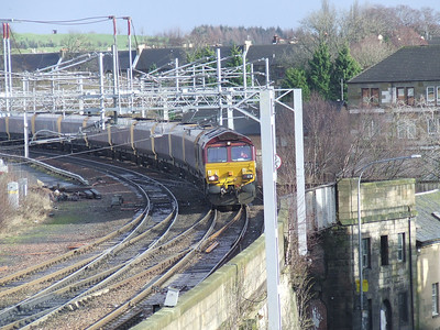 66163 on approach to Paisley Gilmour Street with empty coal hoppers bound for Hunterston