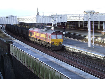 66192 passing through Paisley Gilmour Street with a coal train on a service to Longannet Power Station from Hunterston