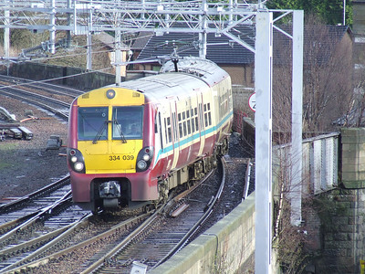 334039 drawing into P2 of Paisley Gilmour Street on a service to Bishopton. The Inverclyde Lines only went that far due to weather related lines problems between Bishopton and Langbank