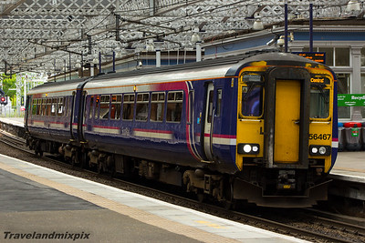 156467 Scotrail Paisley Gilmour Street 11/08/2015 This unit is on a service from Stranraer to Glasgow Central. The direct route from Glasgow to Stranraer via Paisley was to end on 12th December 2015, after 138 years, when direct Glasgow to Stranraer services were instead re-routed via Kilmarnock
