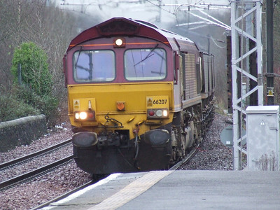 66207 at Paisley Gilmour Street on a service from Hunterston to Longannet PS