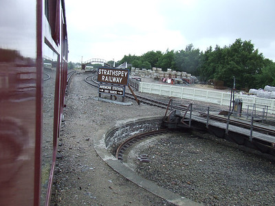 The turntable of the Strathspey Railway along with directions to get to Aviemore Station
