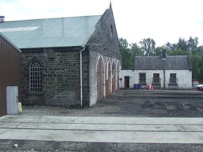 The engine shed at Aviemore, now used by the Strathspey Railway for maintenance of their engines