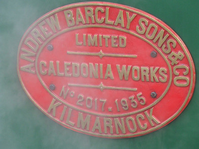 Manufacturers plate on No.17 Braeriach. ANDREW BARCLAY SONS & CO LIMITED CALEDONIA WORKS No 2017. 1935 KILMARNOCK