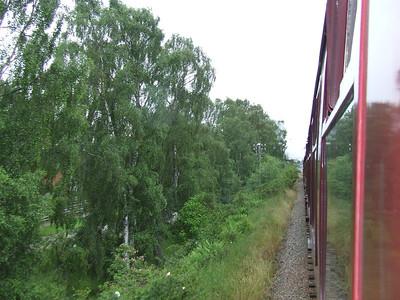 Looking along the train between Boat Of Garten and Aviemore