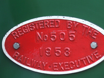 Plate on the engine confirming registration by the Railway Executive in 1953