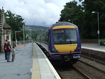 170405 departing Pitlochry on a service to Edinburgh Waverley