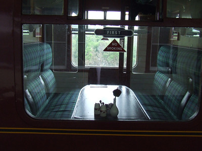 Interior of a First Class compartment on one of the coaches on the Strathspey Railway