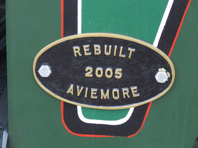 Plate fixed to No.17 by the Strathspey Railway in 2005