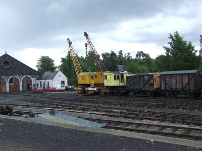 The yard at Aviemore Shed. On Shed is these two Diesel Cranes which were resident at the Boom Defence Depot at Fairlie Pier until recently before it closed