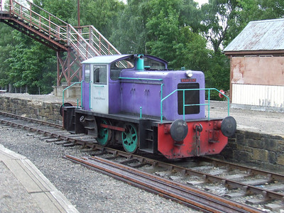 0-4-0DH 'Power Of Enterprise' at Aviemore Speyside. This is an Andrew Barclay Diesel Hydraulic built for Scottish Power in 1966