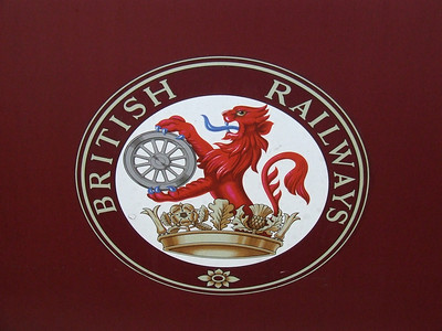 British Railways Lion, or ferret and dartboard crest, in use by British Railways from 1956 to the introduction of the BR Railways Blue corporate colours in 1965. This adorns one of the Mark 1 coaches in use on the Strathspey Railway