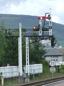 Semaphore signals outside Aviemore Station