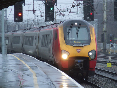 A Class 221 Super Voyager drawing into Preston on a service for Edinburgh Waverley