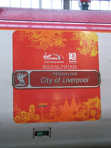 390031 City Of Liverpool name plate and decals for the European Capital Of Culture 2008 which was supported by Virgin