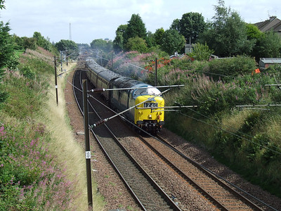 55022 Royal Scots Grey racing through Elderslie at the head of the Scottish Railway Preservation Society Routes & Branches railtour with throttle wide open