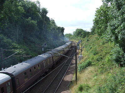 55022 Royal Scots Grey at Elderslie at the head of the Scottish Railway Preservation Society Routes & Branches railtour with throttle wide open