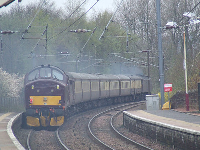 37676 Loch Rannoch at the rear of the Scottish Chieftain passing through Johnstone as it heads for Stranraer
