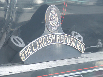 Nameplate of Black 5 45407 The Lancashire Fusilier at P11 on the head of the Great Britain II