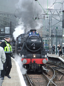Black 5 45231 The Sherwood Forester at P11 at the head of the Great Britain II, making ready to depart on the Inverness leg of the tour