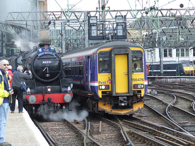 Black 5 45231 The Sherwood Forester at P11 at the head of the Great Britain II with 156476 passing as it departs P10