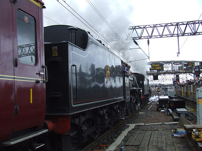 Black 5 45407 The Lancashire Fusilier on the Great Britain II, departing on the Inverness leg of the tour