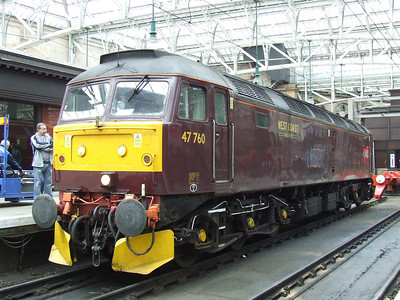 47760 at Platform 11, waiting to depart having brought in the Great Britain II coaching stock