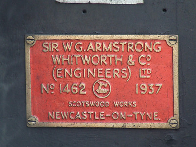 Manufacturers plate of Black 5 45407 The Lancashire Fusilier at P11 at the head of the Great Britain II