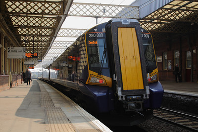 380009 at Platform 3 waiting to depart to Glasgow Central