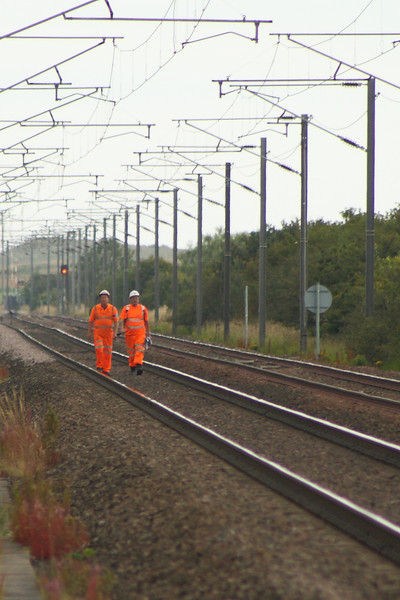 The joys of the job! Track inspection workers heading South between Goswick and West Goswick Farm LC