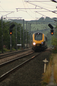 221130 on a Northbound CrossCountry service approaching West Goswick Farm LC