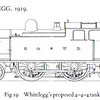 Whitlegg's proposed 4-4-4T, planned but never carried out due to engine rebuilding and maintenance programmes, and design superseded by the 4-6-4T Baltic Tank's