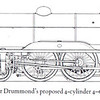 Drummond's proposed 4-6-0 of 1918, design taking place during World War 1. It was to have been a 4 cylinder engine but never got past the drawing board stage when Drummond passed away in 1918.