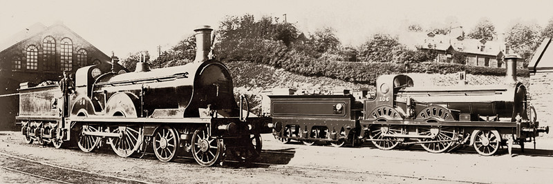 56<br> Smellie 153 Class 4-4-0<br> Built; 1887<br> Rebuilt;1923<br> History;  G&SWR 56 (1887) 452 (1919) LMS 14145(1923)<br> LMS Power Class 1P<br> Withdrawn 1934 and scrapped 1935<br> 104A<br> J.Stirling 75 Class 2-4-0<br> Built; 1871<br> History;  G&SWR 104 (1871) 104A (1894)<br> Withdrawn and scrapped 1905<br> <i>At Dumfries Shed</i>