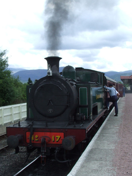 No. 17 getting ready to depart P3 at Aviemore with a Broomhill service. Built in 1935, this is the former Wemyss Private Railway No.17 <i>Braeriach</i> used by the Wemyss Coal Company in Fife, later National Coal Board. The Wemyss Private Railway wasn't absorbed by the NCB, but closed in 1970 when Lochhead colliery closed.