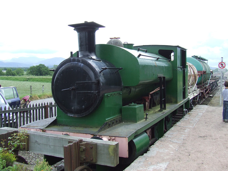 No. 6 '<i>Niddrie</i>' at Broomhill. It is on static display here and is an Andrew Barclay & Son 0-6-0ST built in 1924. The tanks at the back are an oil tank dating from 1912 and a BP tank dating from 1943