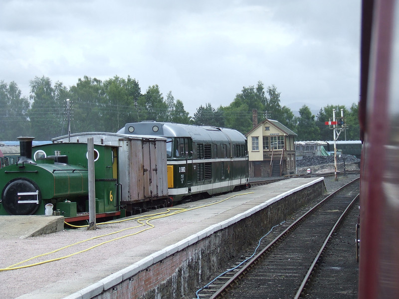 Andrew Barclay & Son 0-4-0ST No. 2 <i>Balmenach</i> at Boat Of Garten where the Strathspey Platforms would have been. 31327 is the other loco in shot painted in BR green as D5862. Boat of Garten SB is in the background