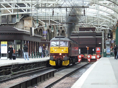 47760 chucking out clag as it departs from Glasgow Central after the Great Britain II tour had departed