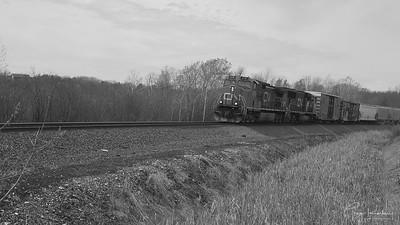 CN ES44AC Followed by a 100th Anniversary ET44AC Led a Manifest Through Mukwonago Wisconsin.