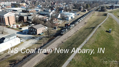 NS Empty Coal Train from the air. Rail fanning New Albany, Indiana