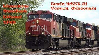 CN Manifest And Ethanol Train Meet At Vernon, Wisconsin  - CN Limestone Train